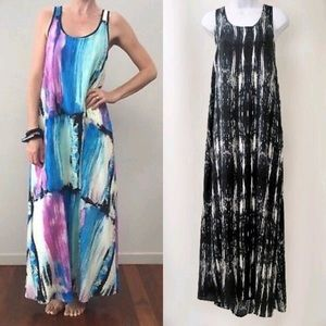 🆕 MinkPink Grayscale Abstract Stripe Maxi Dress